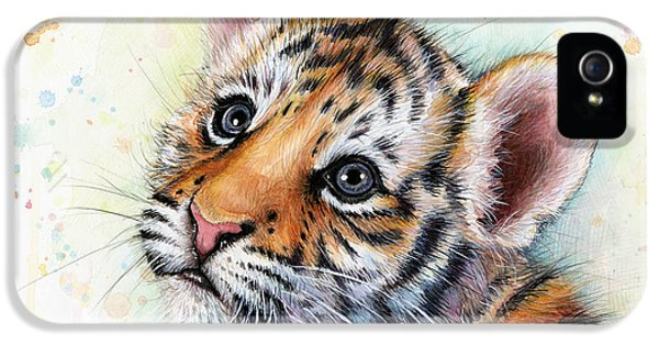 Stripes iPhone 5 Cases - Tiger Cub Watercolor Art iPhone 5 Case by Olga Shvartsur