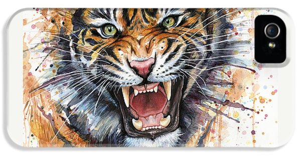 Tiger Watercolor Portrait IPhone 5 / 5s Case by Olga Shvartsur