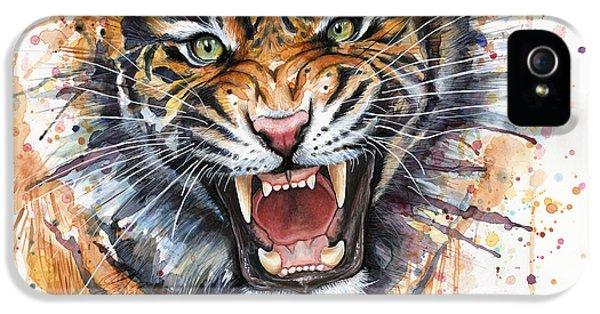 Zoo iPhone 5 Cases - Tiger Watercolor Portrait iPhone 5 Case by Olga Shvartsur