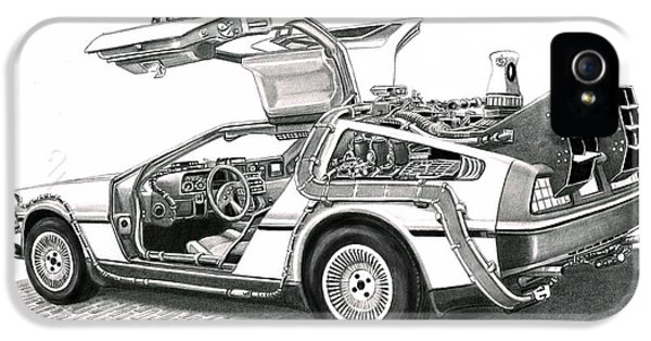 Michael J Fox iPhone 5 Cases - Time Machine iPhone 5 Case by Murphy Elliott