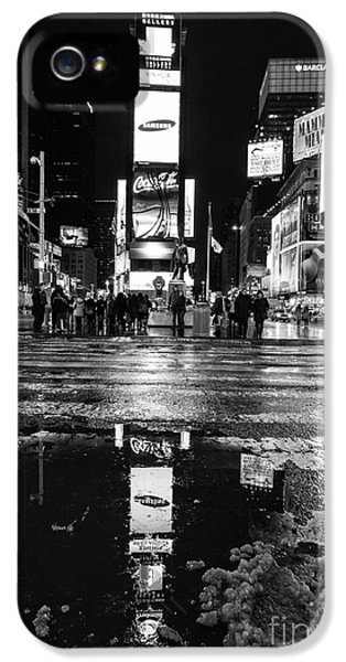 Times Square iPhone 5 Cases - TImes square monochromatic  iPhone 5 Case by John Farnan