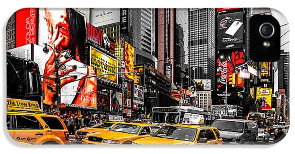 Times Square iPhone 5 Cases - Times Square Taxis iPhone 5 Case by Az Jackson