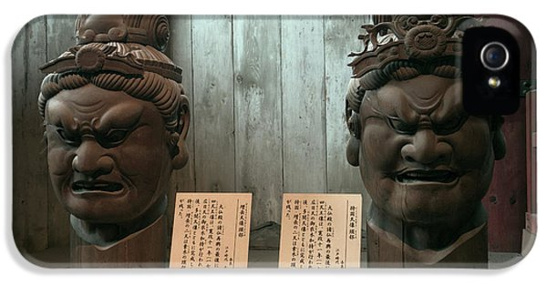 Scowl iPhone 5 Cases - Todaiji Temple 2 Meter Heads iPhone 5 Case by Daniel Hagerman