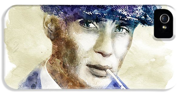 British Crime iPhone 5 Cases - Tommy Shelby watercolor iPhone 5 Case by Marian Voicu