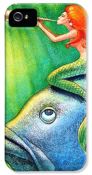 Toot Your Own Seashell Mermaid IPhone 5 / 5s Case by Sue Halstenberg