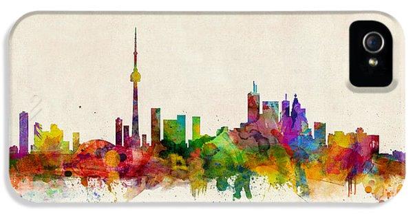 Skyline iPhone 5 Cases - Toronto Skyline iPhone 5 Case by Michael Tompsett