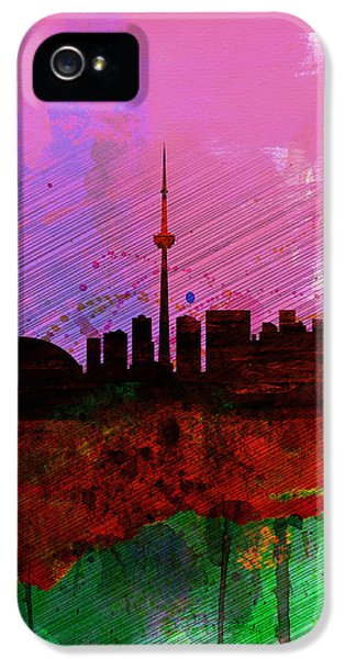 Toronto iPhone 5 Cases - Toronto Watercolor Skyline iPhone 5 Case by Naxart Studio