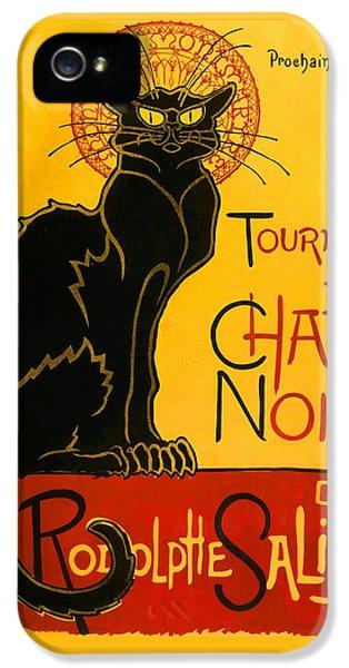 Fin De Siecle iPhone 5 Cases - Tournee Du Chat Noir iPhone 5 Case by Theophile Steinlen