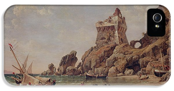 Ashore iPhone 5 Cases - Tower Of Erchia, Gulf Of Salerno, 1849 Oil On Canvas iPhone 5 Case by Edward William Cooke