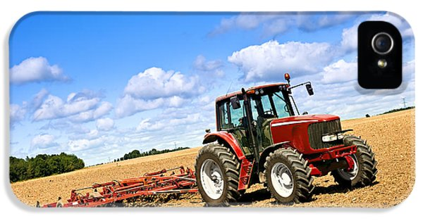 Tractor iPhone 5 Cases - Tractor in plowed farm field iPhone 5 Case by Elena Elisseeva
