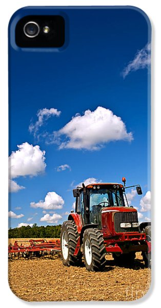 Tractor iPhone 5 Cases - Tractor in plowed field iPhone 5 Case by Elena Elisseeva