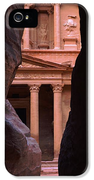 Al-khazneh iPhone 5 Cases - Treasury Through The Rocks, Petra, Wadi iPhone 5 Case by Panoramic Images