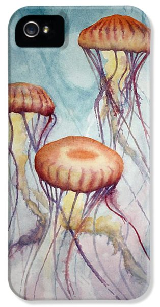 Polyp iPhone 5 Cases - Tres Jellyfish iPhone 5 Case by Jeff Lucas