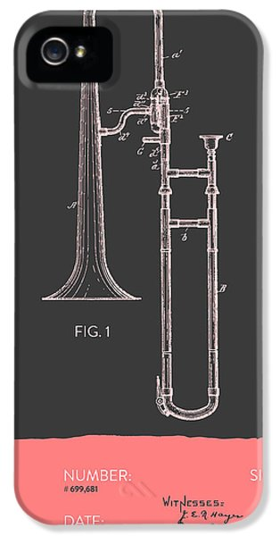 Trombone Patent From 1902 - Modern Gray Salmon IPhone 5 / 5s Case by Aged Pixel