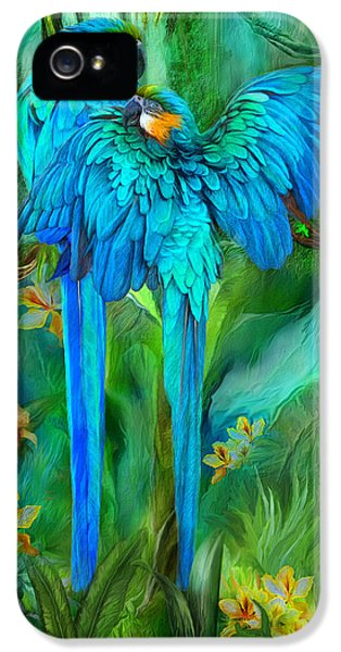 Tropic Spirits - Gold And Blue Macaws IPhone 5 / 5s Case by Carol Cavalaris
