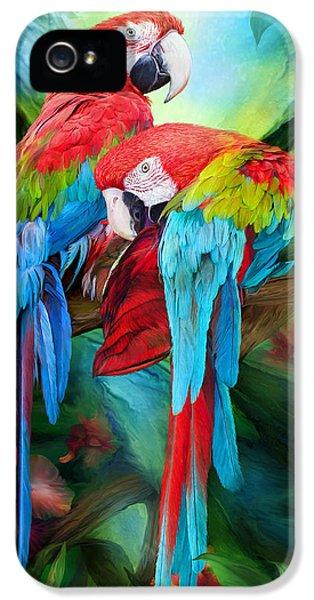 Tropic Spirits - Macaws IPhone 5 / 5s Case by Carol Cavalaris
