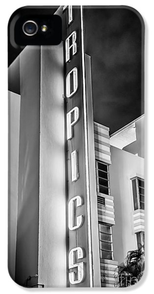1930s iPhone 5 Cases - Tropics Hotel Art Deco District SOBE MiamI - Black and White iPhone 5 Case by Ian Monk