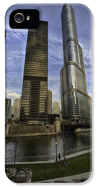 Hdr iPhone 5 Cases - Trump Tower and River Front iPhone 5 Case by Sebastian Musial
