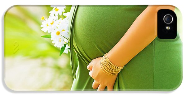 Abdomen iPhone 5 Cases - Tummy of pregnant woman iPhone 5 Case by Anna Omelchenko
