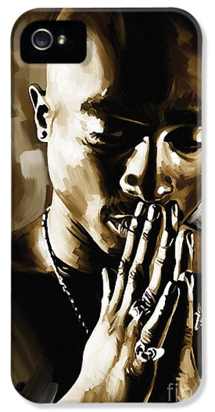 Hip Hop iPhone 5 Cases - Tupac Shakur Artwork  iPhone 5 Case by Sheraz A