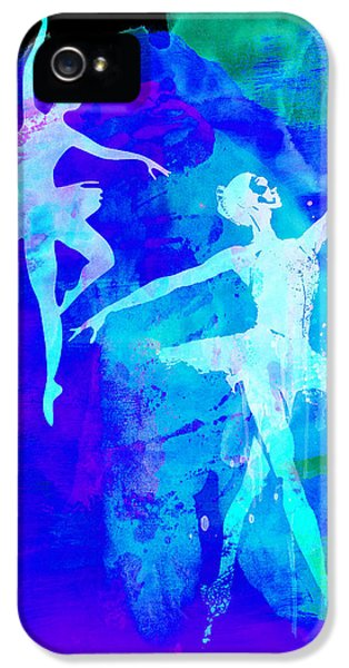 Theater iPhone 5 Cases - Two Dancing Ballerinas  iPhone 5 Case by Naxart Studio