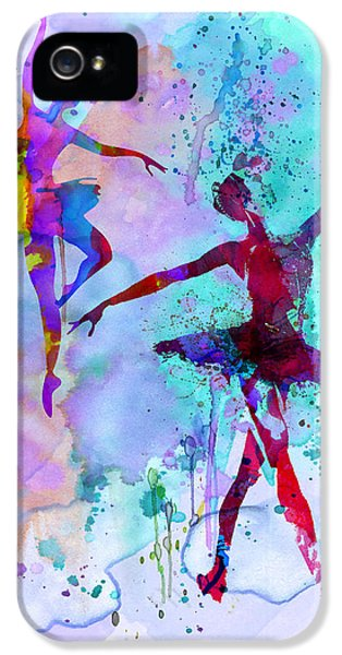 Beautiful Dancer iPhone 5 Cases - Two Dancing Ballerinas Watercolor 2 iPhone 5 Case by Naxart Studio