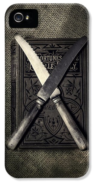 Thriller iPhone 5 Cases - Two Knives And A Book iPhone 5 Case by Joana Kruse