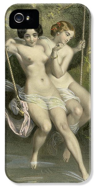 Nudity iPhone 5 Cases - Two Ladies On A Swing iPhone 5 Case by Charles Bargue
