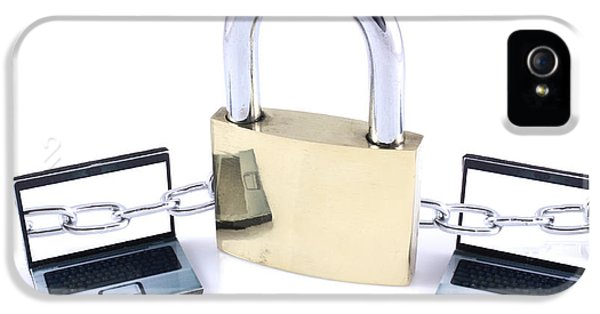 Firewall iPhone 5 Cases - Two laptops chained to a large padlock iPhone 5 Case by Simon Bratt Photography LRPS
