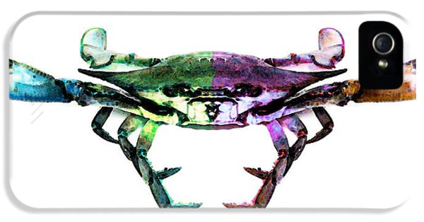 Blue Crab iPhone 5 Cases - Two Sides - Duality Crab Art iPhone 5 Case by Sharon Cummings