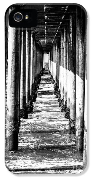 Pillar iPhone 5 Cases - Under Huntington Beach Pier Black and White Picture iPhone 5 Case by Paul Velgos