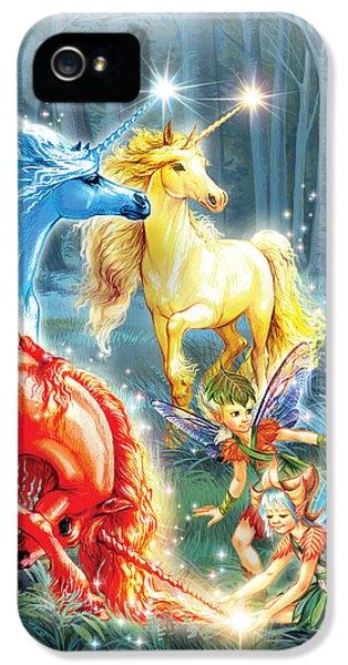 Creativity iPhone 5 Cases - Unicorns and Fairies iPhone 5 Case by Zorina Baldescu