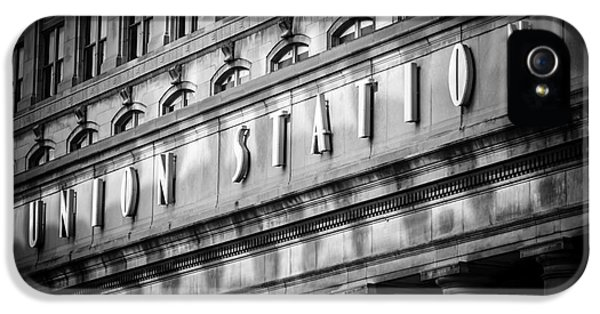 Pillar iPhone 5 Cases - Union Station Chicago Sign in Black and White iPhone 5 Case by Paul Velgos