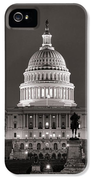 Senate iPhone 5 Cases - United States Capitol at Night iPhone 5 Case by Olivier Le Queinec