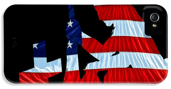 Air Force iPhone 5 Cases - United States Flag with kneeling Soldier silhouette iPhone 5 Case by Bob Orsillo