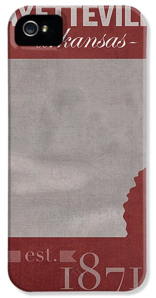 University Of Arkansas Razorbacks Fayetteville College Town State Map Poster Series No 013 IPhone 5 / 5s Case by Design Turnpike