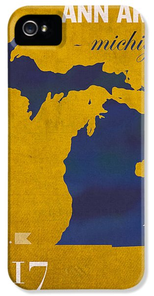 University Of Michigan Wolverines Ann Arbor College Town State Map Poster Series No 001 IPhone 5 / 5s Case by Design Turnpike