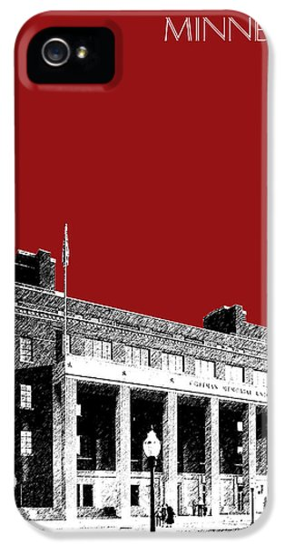 University Of Minnesota - Coffman Union - Dark Red IPhone 5 / 5s Case by DB Artist