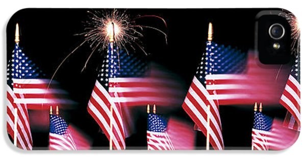 4th Of July iPhone 5 Cases - Us Flags And Fireworks iPhone 5 Case by Panoramic Images