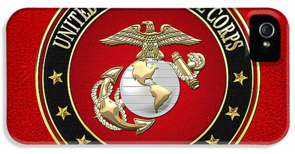 Heritage iPhone 5 Cases - U. S. Marine Corps - USMC Emblem Special Edition iPhone 5 Case by Serge Averbukh