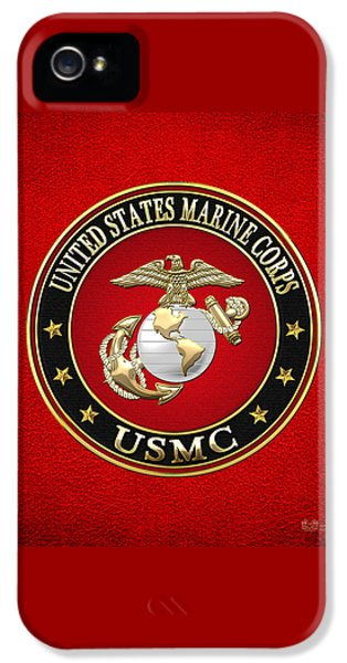 U. S. Marine Corps - U S M C Emblem Special Edition IPhone 5 / 5s Case by Serge Averbukh