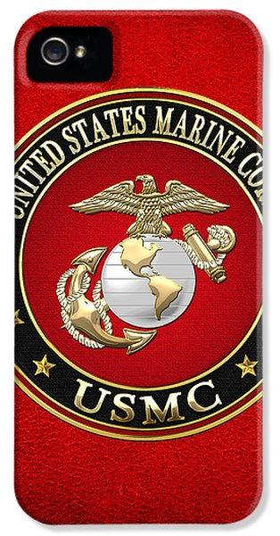 Badge iPhone 5 Cases - U. S. Marine Corps - U S M C Emblem Special Edition iPhone 5 Case by Serge Averbukh