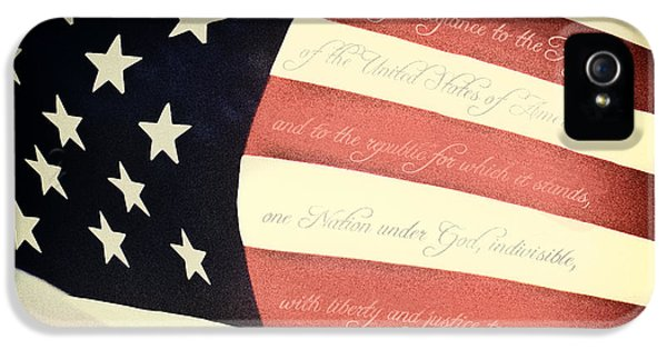 Stars And Strips iPhone 5 Cases - US Pledge on US Flag iPhone 5 Case by Brian Mollenkopf
