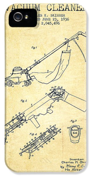 Electronic iPhone 5 Cases - Vacuum Cleaner patent from 1936 - Vintage iPhone 5 Case by Aged Pixel