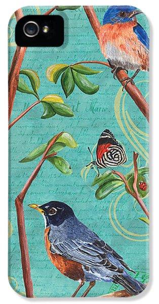 Songbird iPhone 5 Cases - Verdigris Songbirds 1 iPhone 5 Case by Debbie DeWitt