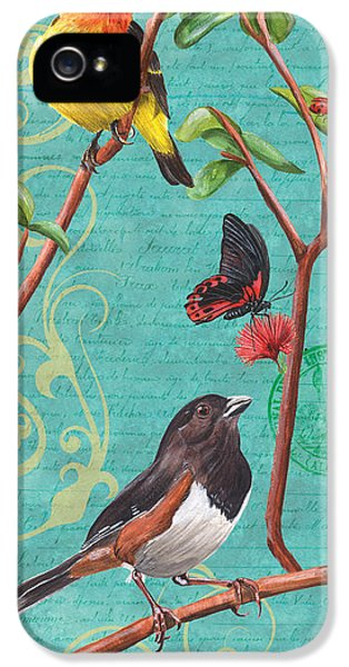 Songbird iPhone 5 Cases - Verdigris Songbirds 2 iPhone 5 Case by Debbie DeWitt