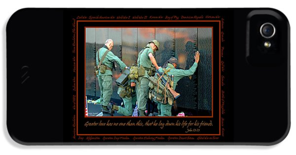 Force iPhone 5 Cases - Veterans at Vietnam Wall iPhone 5 Case by Carolyn Marshall