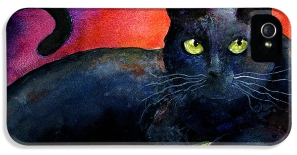 Black Cat iPhone 5 Cases - Vibrant Black Cat watercolor painting  iPhone 5 Case by Svetlana Novikova