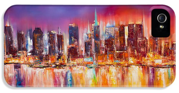 Nyc iPhone 5 Cases - Vibrant New York City Skyline iPhone 5 Case by Manit