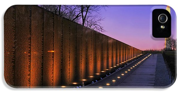 Vietnam Wall iPhone 5 Cases - Vietnam Veterans Memorial at Sunset iPhone 5 Case by Mountain Dreams